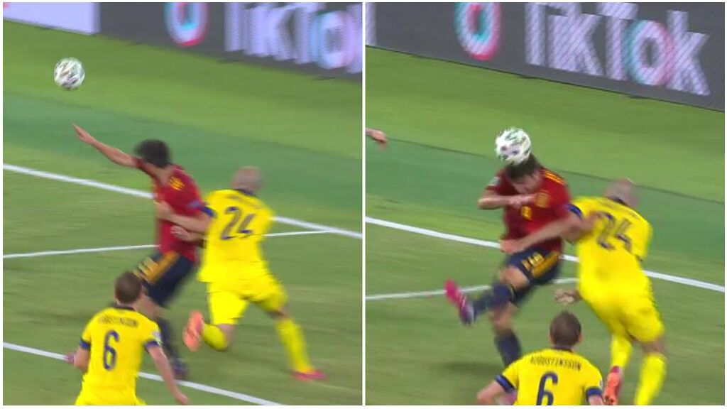 El penalti a Gerard Moreno que el VAR no revisó: Agarrón claro que le evita el remate