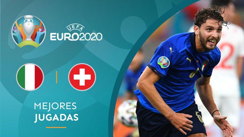 Locatelli y Beradi realizan una jugada preciosa para anotar el primer gol del partido entre Italia – Suiza (1-0)