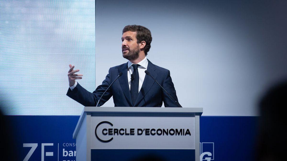El líder del PP, Pablo Casado, interviene en el Círculo de Economía