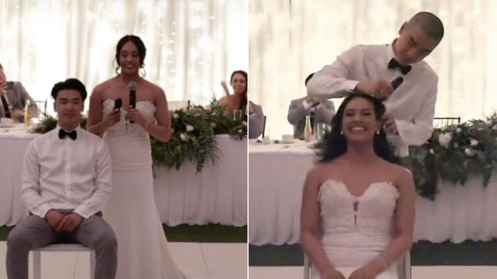 Una pareja se rapa la cabeza en mitad de su boda para solidarizarse con la madre de la novia que tiene cáncer