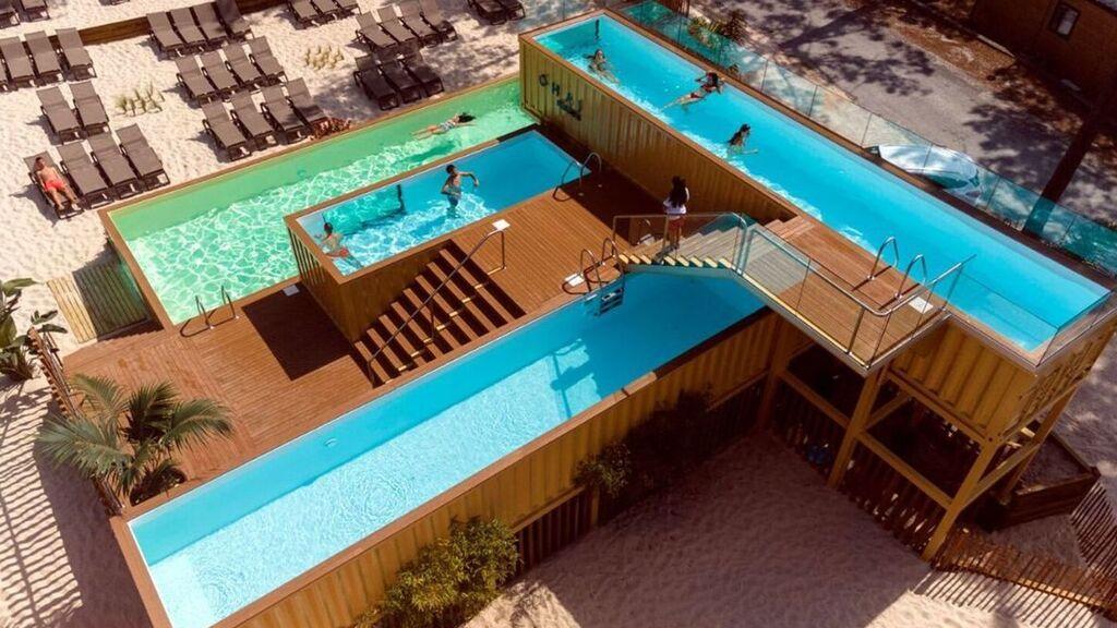 Portugal acoge la piscina más alta y grande de Europa: está construida con contenedores de barco