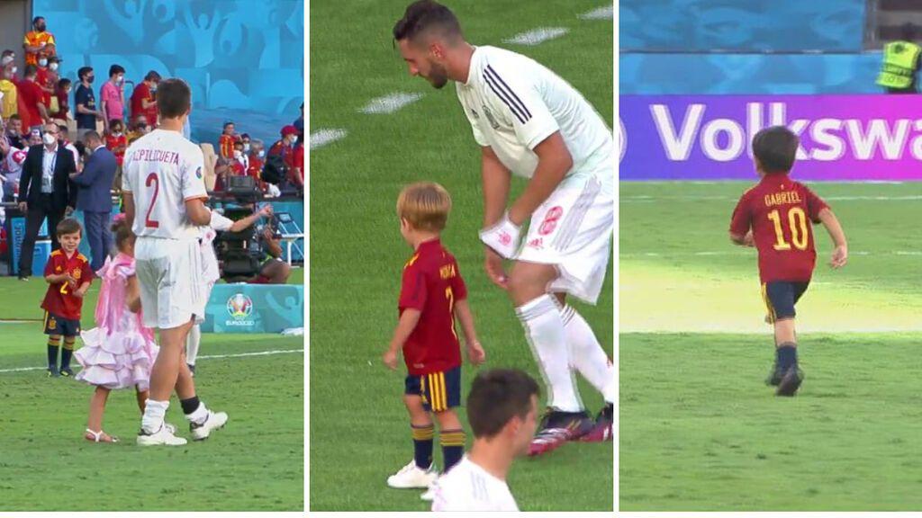 ¡El futuro de la Selección Española está garantizado! Los hijos de los futbolistas jugaron en La Cartuja tras la victoria