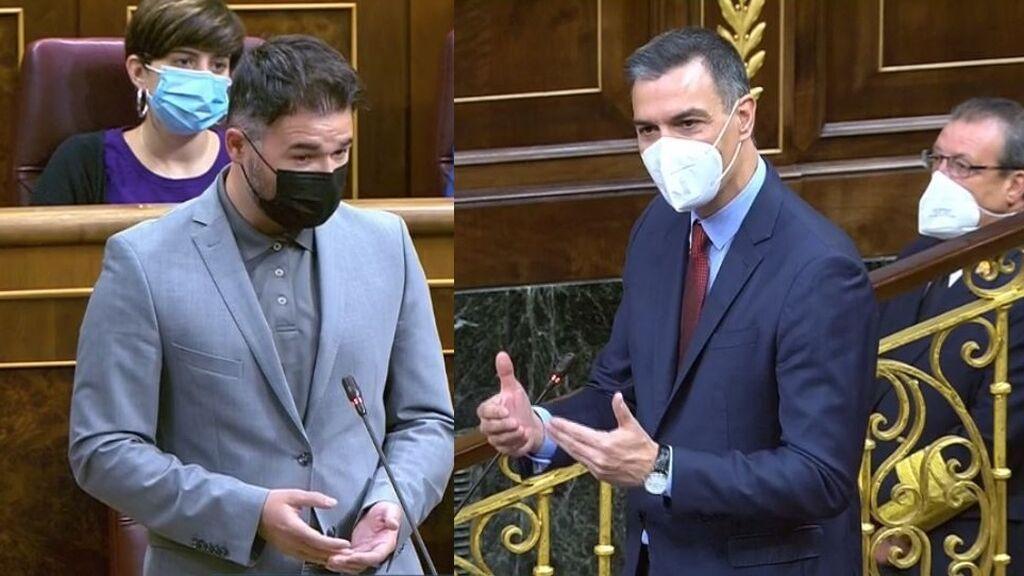 Rufián pone contra las cuerdas a Sánchez tras los indultos