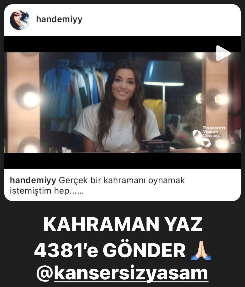 Kerem Bürsin ha querido apoyar la campaña de Hande Erçel