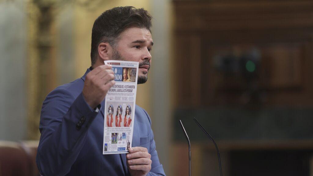 Rufián duda de las palabras de Sánchez sobre el referéndum