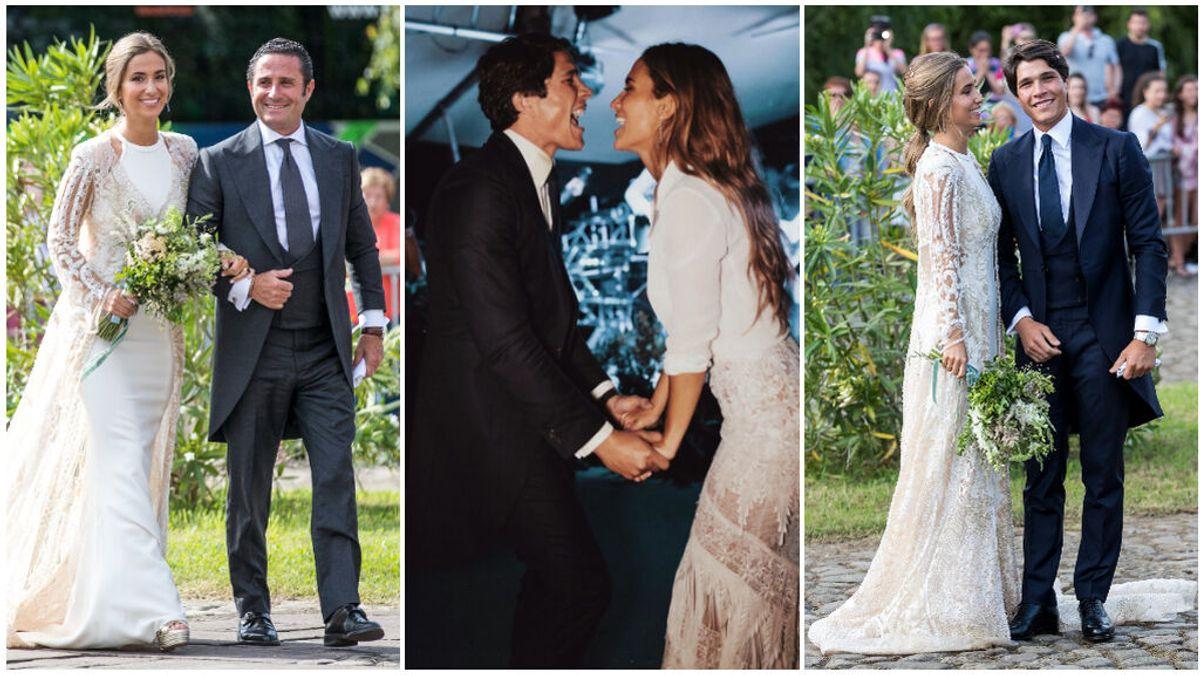 Un abrigo de estilo batín, una camisa anudada y muchos abalorios: así fueron los dos vestidos de novia que María Pombo llevó en su boda.