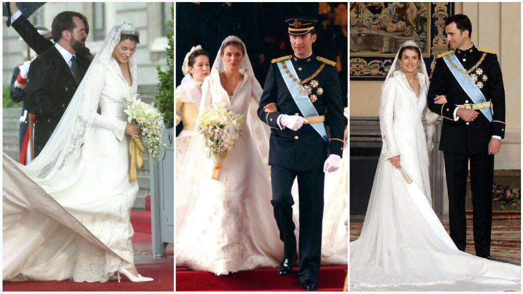 Del cuello chimenea al velo con la flor de lis y la Tiara Prusiana: los detalles (ocultos) del vestid de novia de Doña Letizia.
