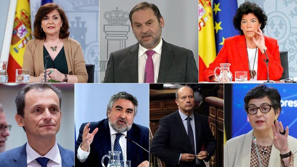 Los ministros que salen del Gobierno: Calvo, Duque, Celaá, González-Laya, Campo, Ábalos y Uribes