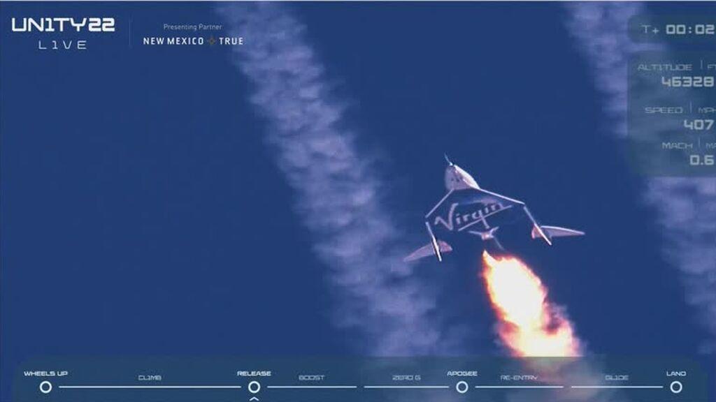 El magnate Richard Branson concluye con éxito su vuelo al espacio en el VSS Unity de Virgin Galactic