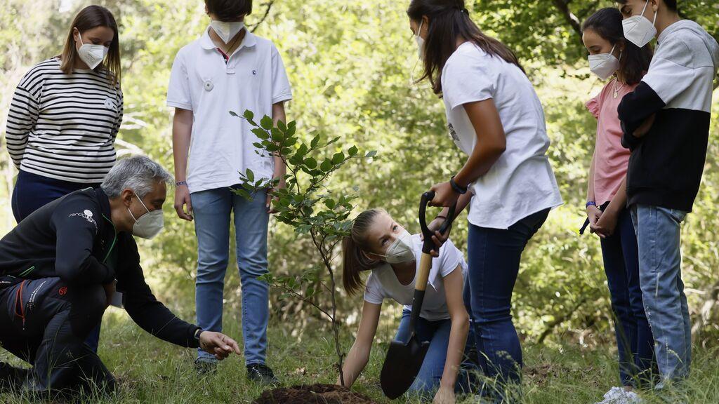 La princesa Leonor y su hermana Sofía plantan árboles por Europa en su primer acto en solitario sin sus padres