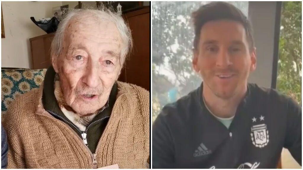 """Messi sorprende con un emotivo vídeo a un aficionado de 100 años: """"No me digas que es él"""""""
