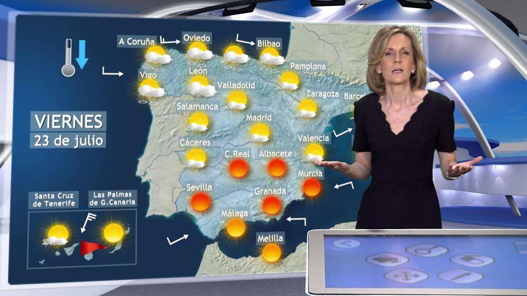 Alivio térmico a la vista por un frente frío: el tiempo que hará el viernes en España