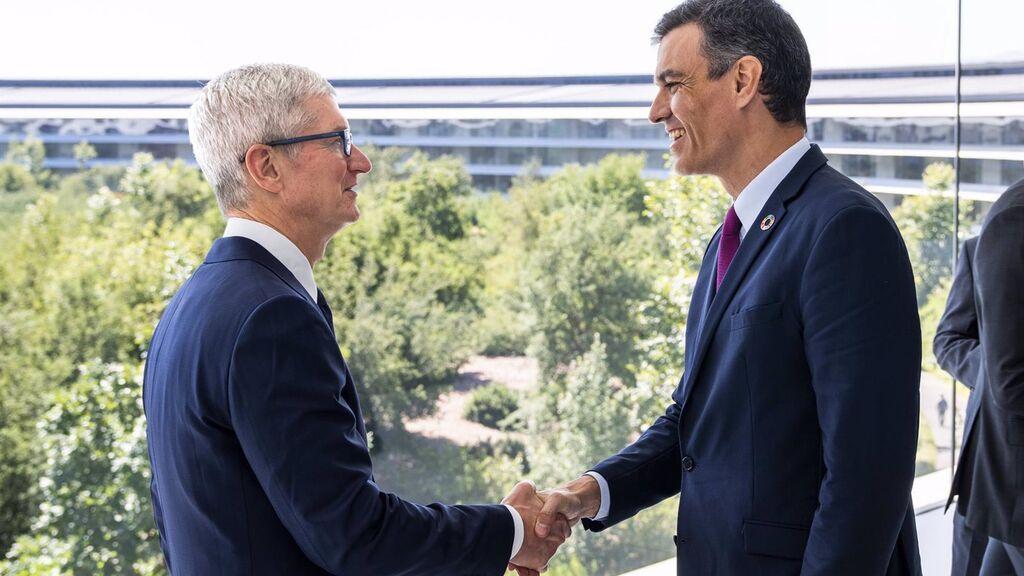 Sánchez 'vende' en Apple y HP su plan de recuperación y su estrategia de transformación digital