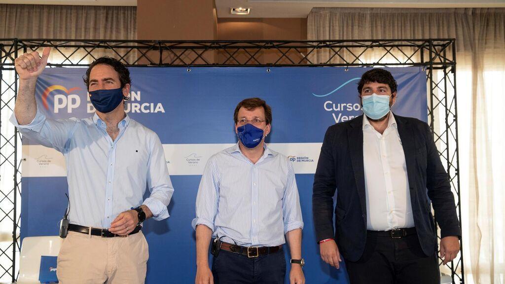 García Egea, Martínez Almeida y López Miras en un acto del PP en Murcia