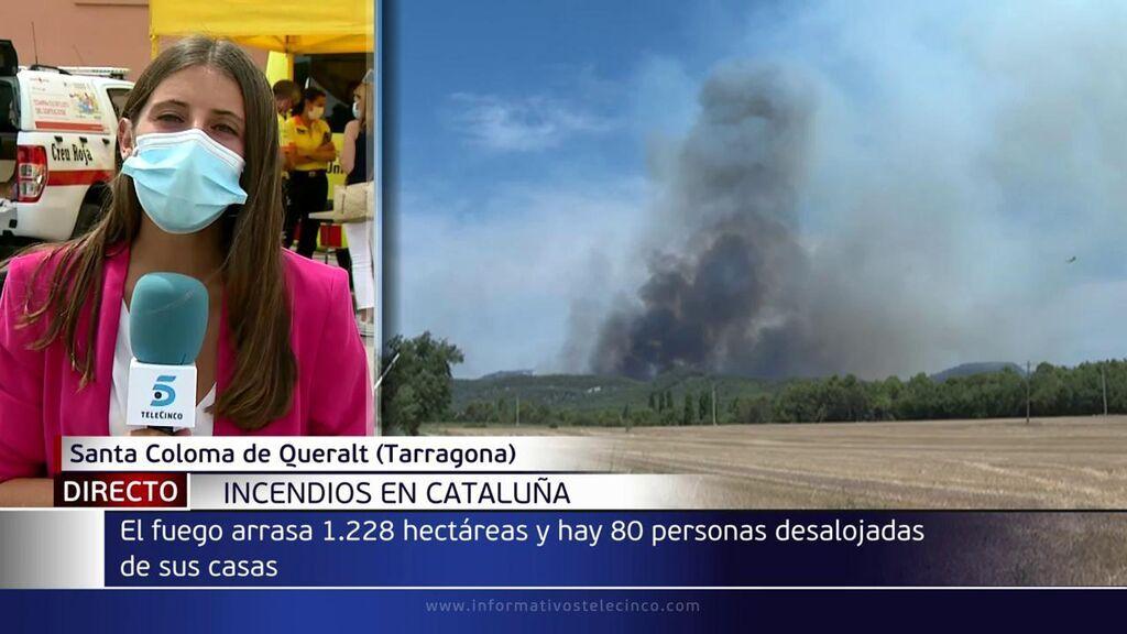 El fuego de Santa Coloma de Queralt, Tarragona, ha quemado ya 1.200 hectáreas