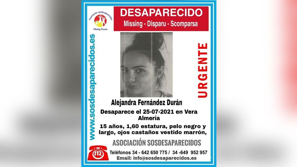 Buscan a Alejandra Fernández, una menor de 15 años desaparecida en Vera, Almería