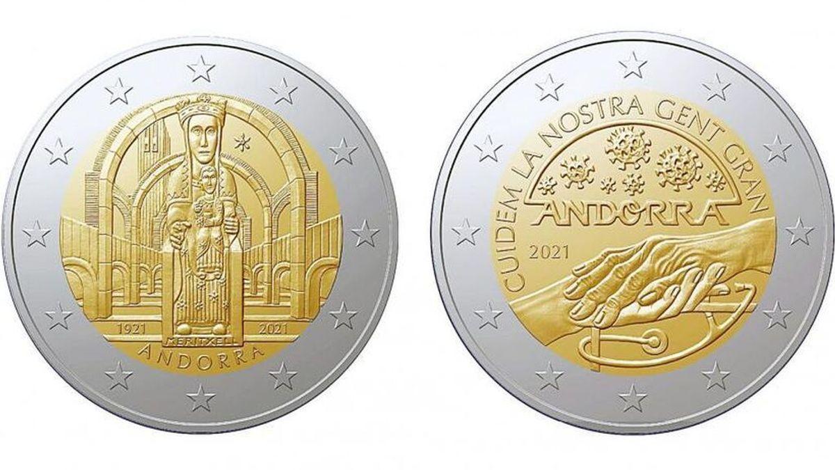 ¿Cómo son las monedas de 2 euros conmemorativas que emite Andorra?