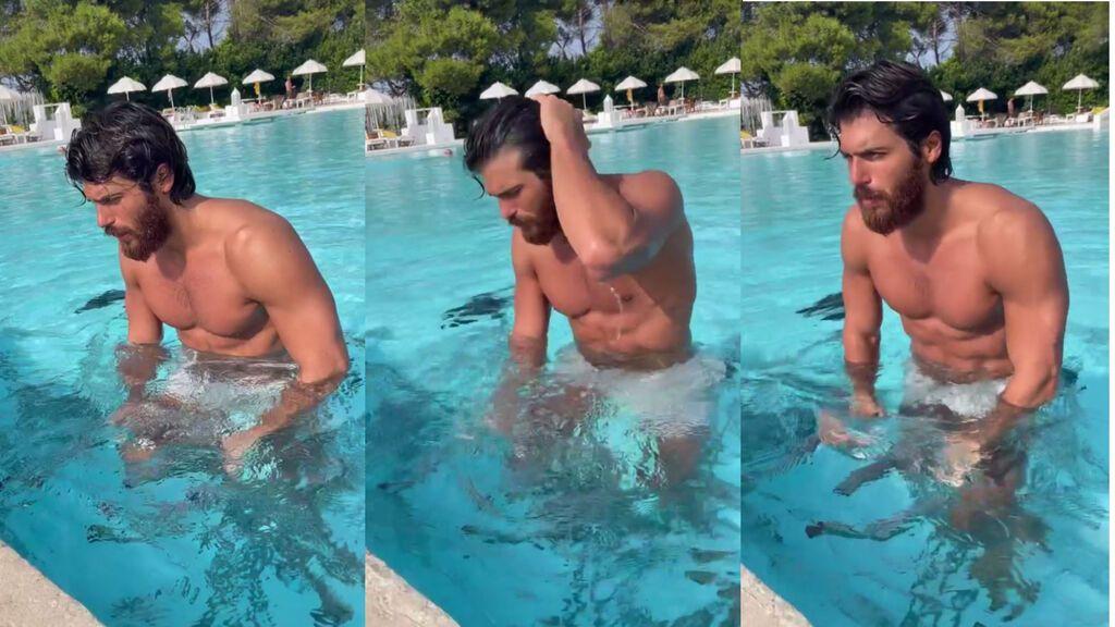 Can Yaman haciendo ejercicio en la piscina