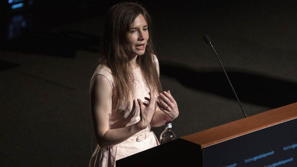 Amanda Knox, en una conferencia en 2019