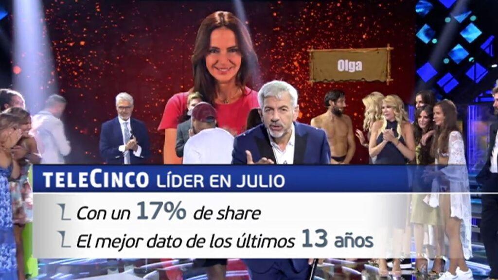 Telecinco, líder en julio con un 17% de share, el mejor dato de los últimos 13 años
