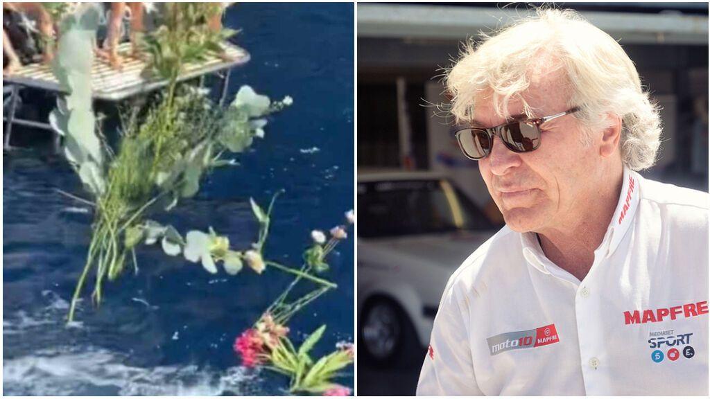 El emotivo homenaje a Ángel Nieto en aguas de Ibiza en el cuarto aniversario de su muerte: su familia se reúne para lanzar flores junto a sus cenizas