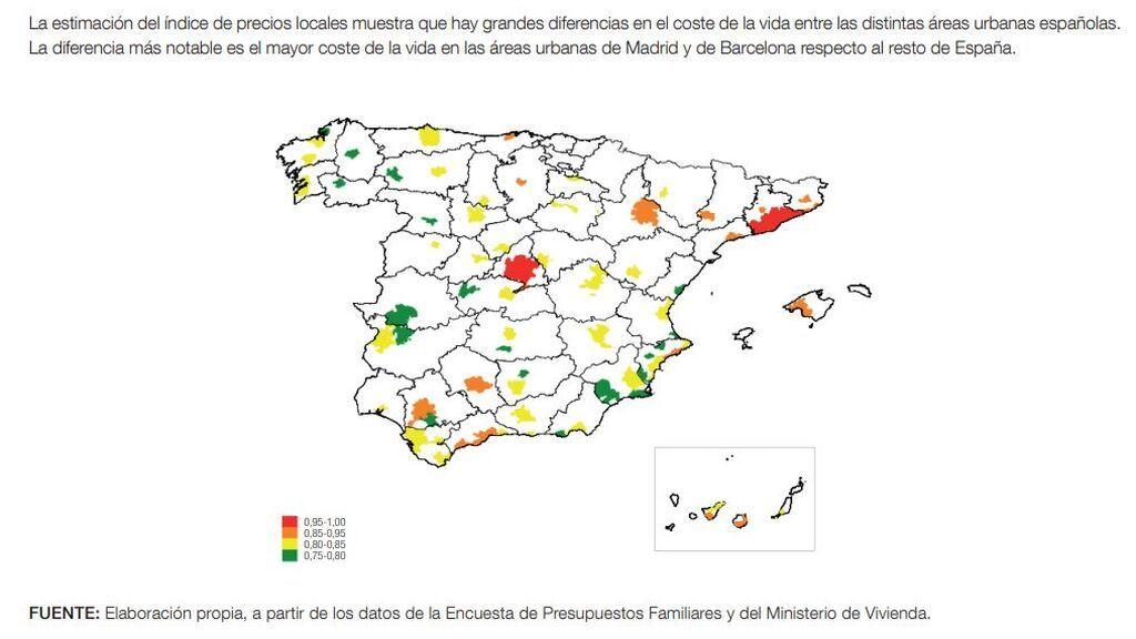 En el gráfico se representa el cociente entre el nivel del índice de precios locales en cada área urbana y el nivel de ese índice en Madrid (en ambos casos, para 2020).