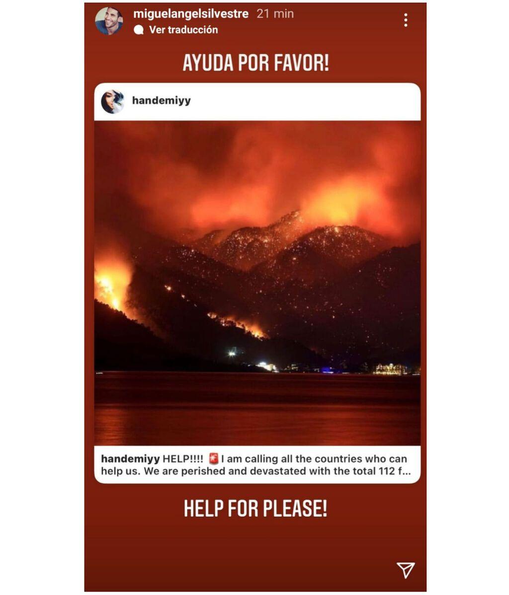 Miguel Ángel Silvestre se hace eco de los incendios de Turquía