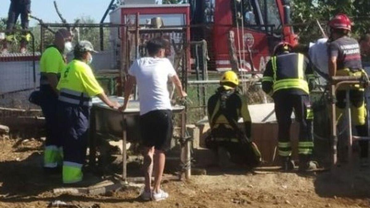 Los bomberos del Aljarafe, en Sevilla, rescatan a una vaca atrapada en un pozo de Bormujos
