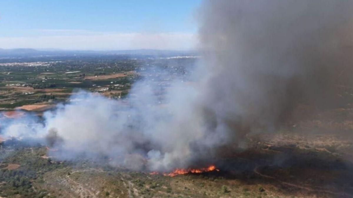 Desalojan dos urbanizaciones por el incendio forestal que afecta a Rafelguaraf, en Valencia