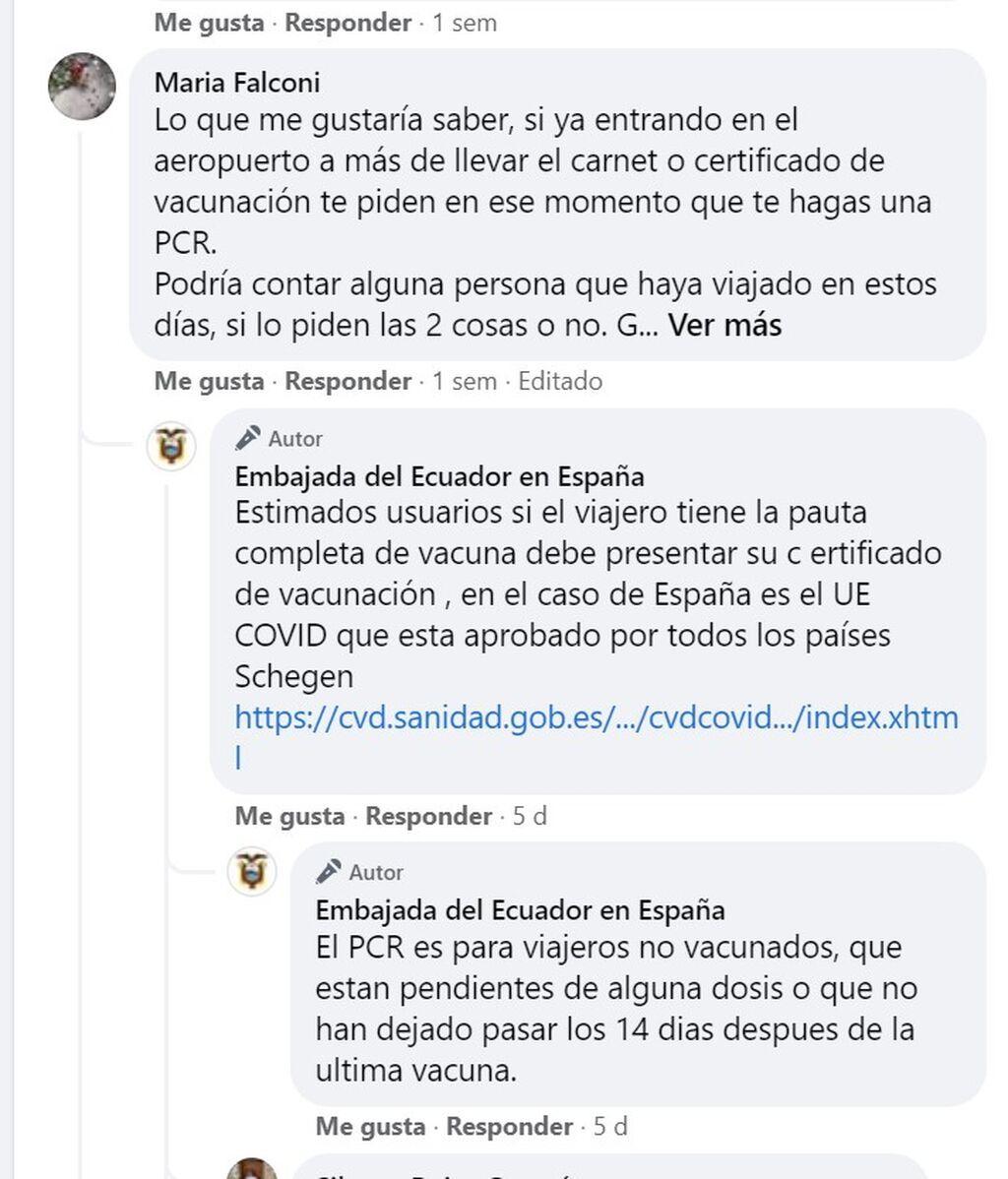 La embajada de Ecuador en España aclara los requisitos para viajar en Facebook