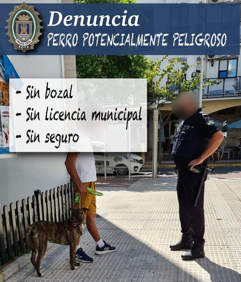 Una denuncia de la policía local de Rota al propietario de un perro potencialmente peligroso