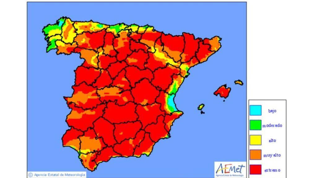 Mapa de la AEMET sobre el peligro de incendios