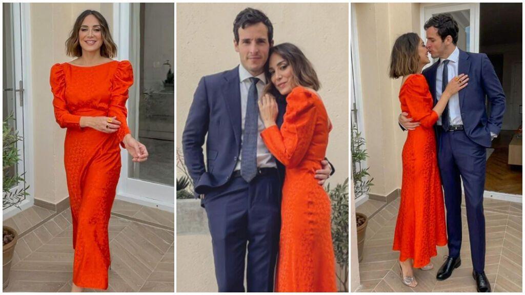El vestido rojo de Tamara fue todo un acierto.