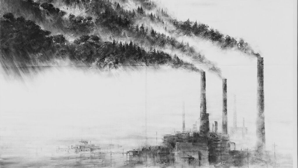 Obra del artista español Pejac 'A forest'
