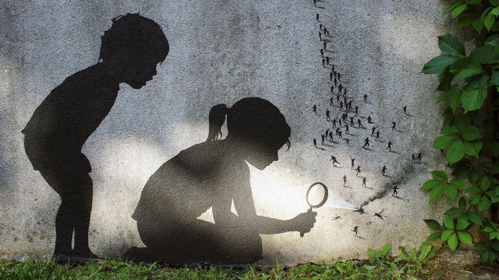 Obra del artista Pejac 'Ants', en París