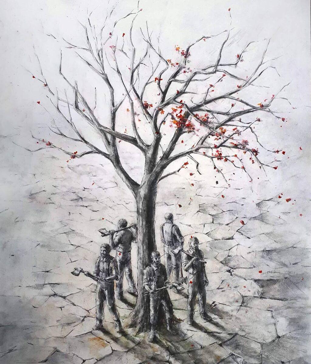 Obra del artista español Pejac 'Guardians'