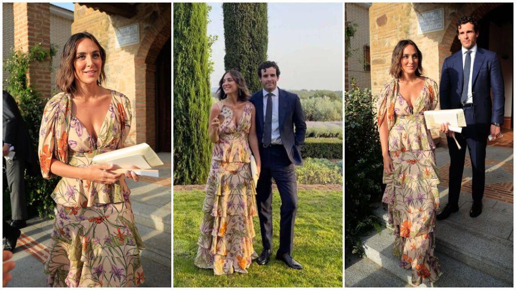Tamara lució un bonito vestido para la boda de Felipe Cortina.