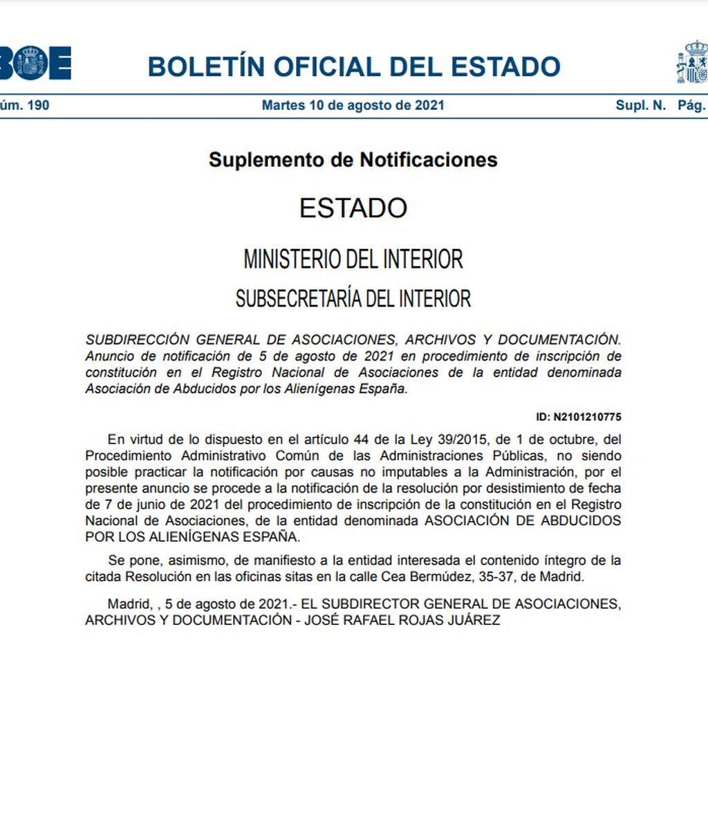"""Resolución del BOE sobre la 'Asociación de abducidos por alienígenas de España"""""""