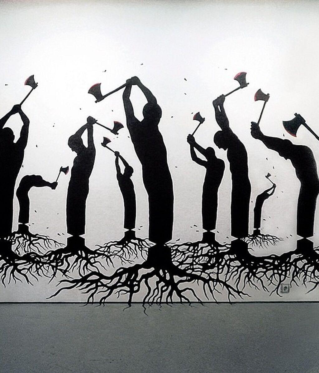 Obra del artista español Pejac 'Human Nature'