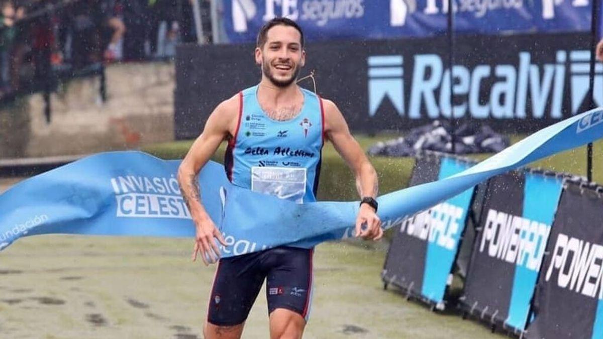 El atleta gallego Gonzalo Basconcelo durante una competición