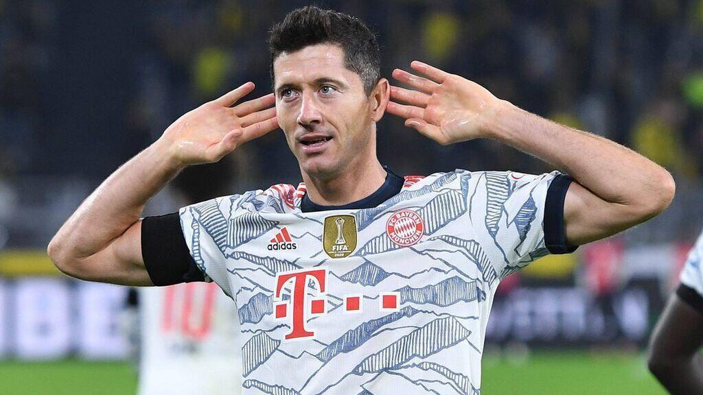 Lewandowski, tras marcar al Dortmund.
