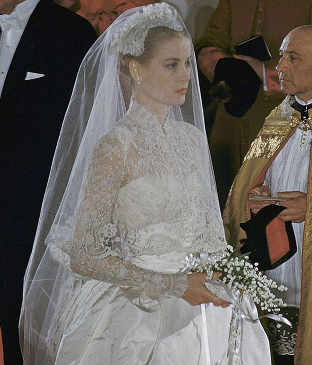 Detalles del velo y tocado de novia de Grace Kelly