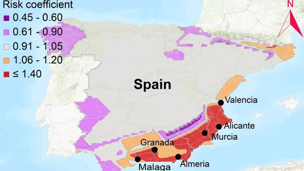 Mapa de coeficiente de riesgo actual