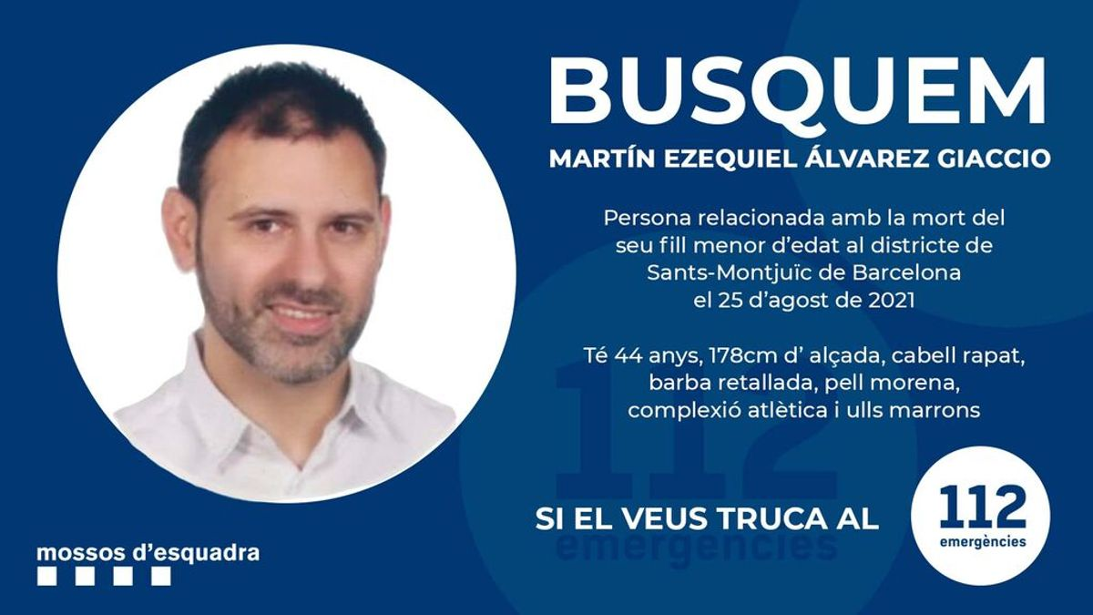 Los Mossos piden ayuda para encontrar al padre del niño encontrado muerto en Barcelona