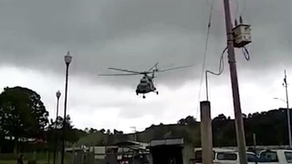 El accidentado aterrizaje de un helicóptero militar en México tras sufrir un fallo mecánico