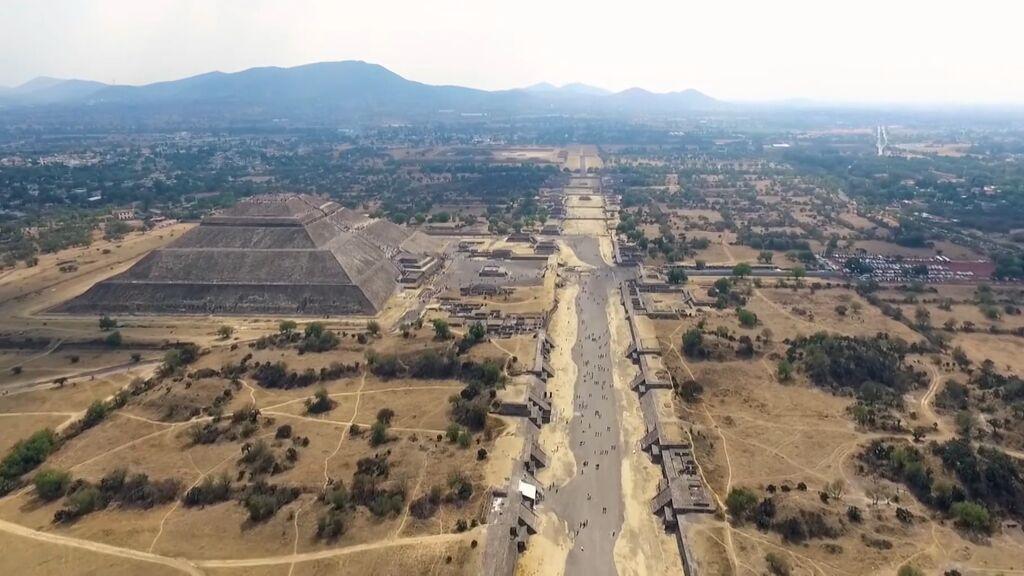 Las pirámides de Teotihuacán, Patrimonio Mundial por la UNESCO, a vista de pájaro
