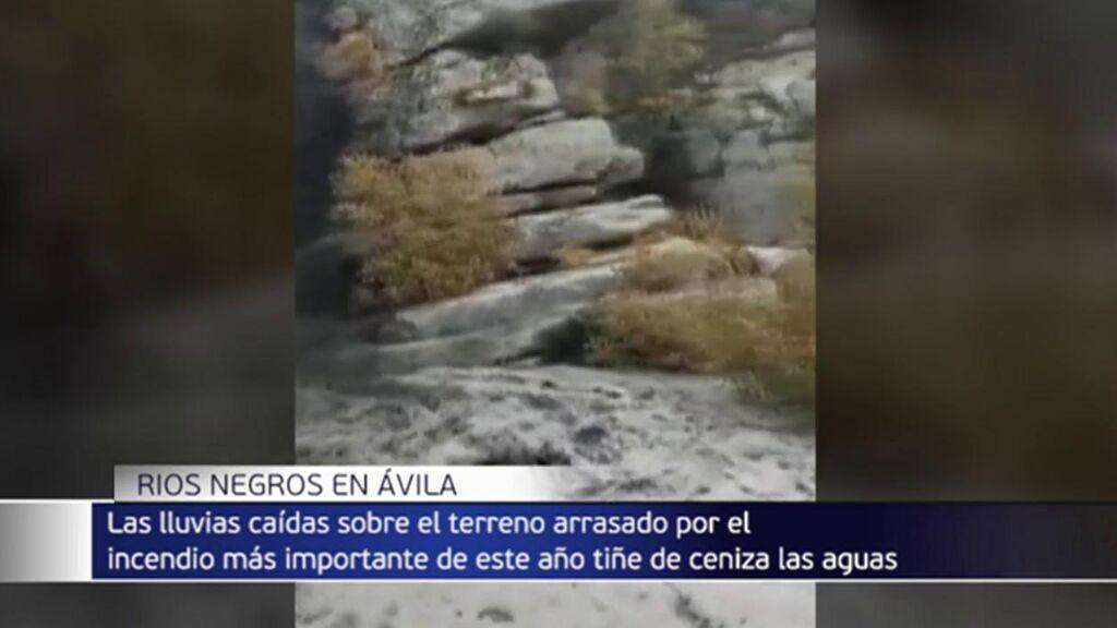 Riada de cenizas en Ávila: las aguas se tiñen de negro por los recientes incendios