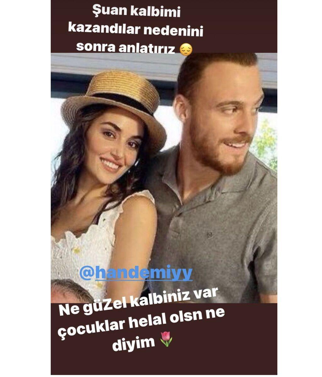 Story Demet Akalin en agradecimiento a Hande y Kerem