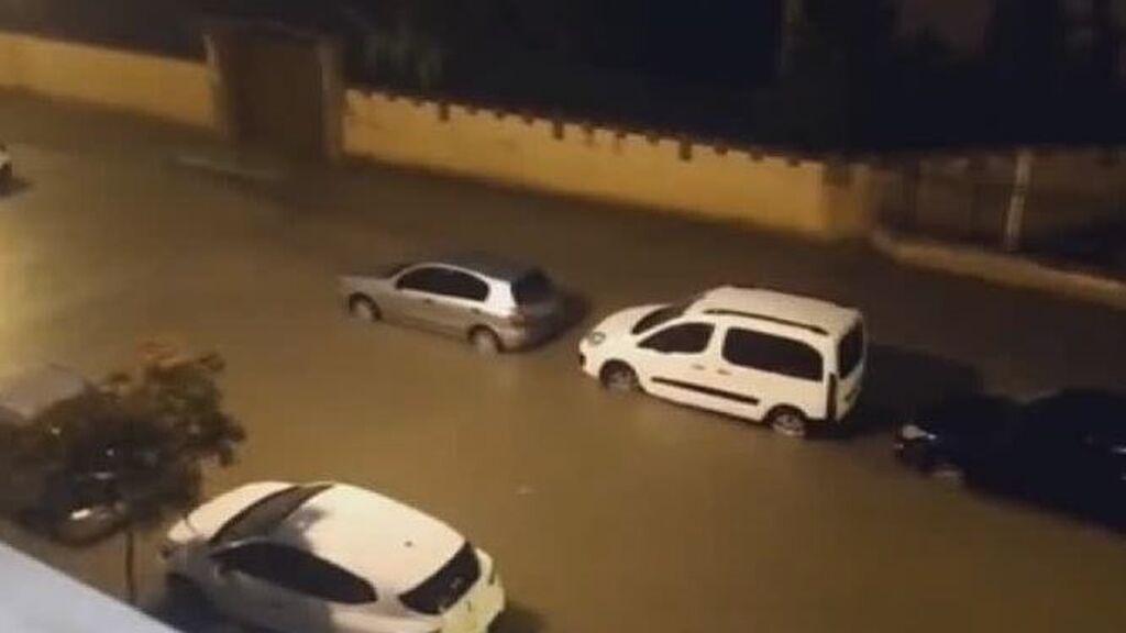 Inundaciones en Tudela por las fuertes lluvias esta noche