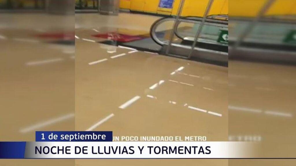 Inundaciones en el Metro de Madrid por las tormentas de esta madrugada